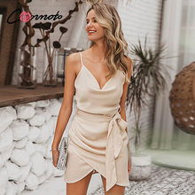 Conmoto Solid Sexy Club Party Dress Vrouwen Satijn Spaghetti Band Lente Zomer 2020 Boog Wrap Korte Dames Jurk Vestidos(China)