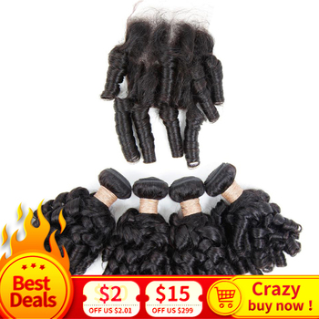 Brazilian Bouncy Curly Hair with Closure Fummi Hair with Closure 3/4 Bundles Remy Human Hair Bundles with Closure 8-30inch