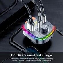 Aoshike pd + qc3.0 transmissor fm carro kit mp3 player de música bluetooth 5.0 aux áudio led luz colorida usb carregador de carro duplo usb