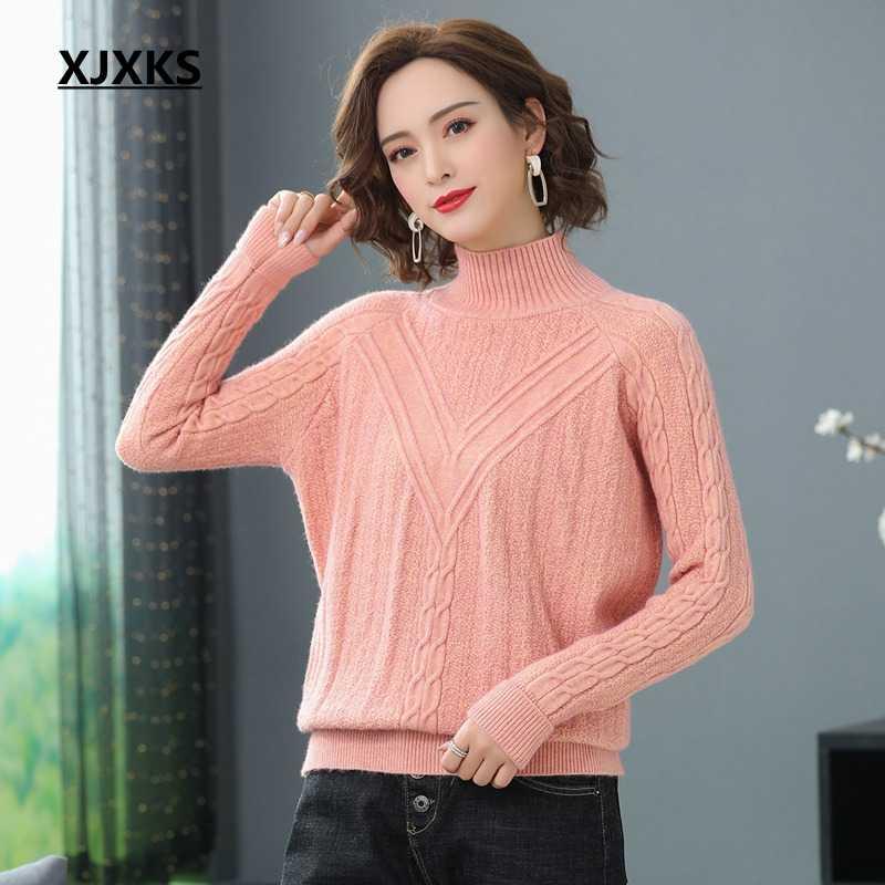 XJXKS 고품질 터틀넥 스웨터 여성 풀오버 가을 겨울 솔리드 니트 스웨터 캐주얼 여성 점퍼 대형 스웨터