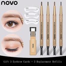 NOVO EyeBrow Pencil Cosmetics Makeup Long Lasting Waterproof Black Brown 3 Eyebrow Pencil Refills + 3 eyebrow cards Gift Set