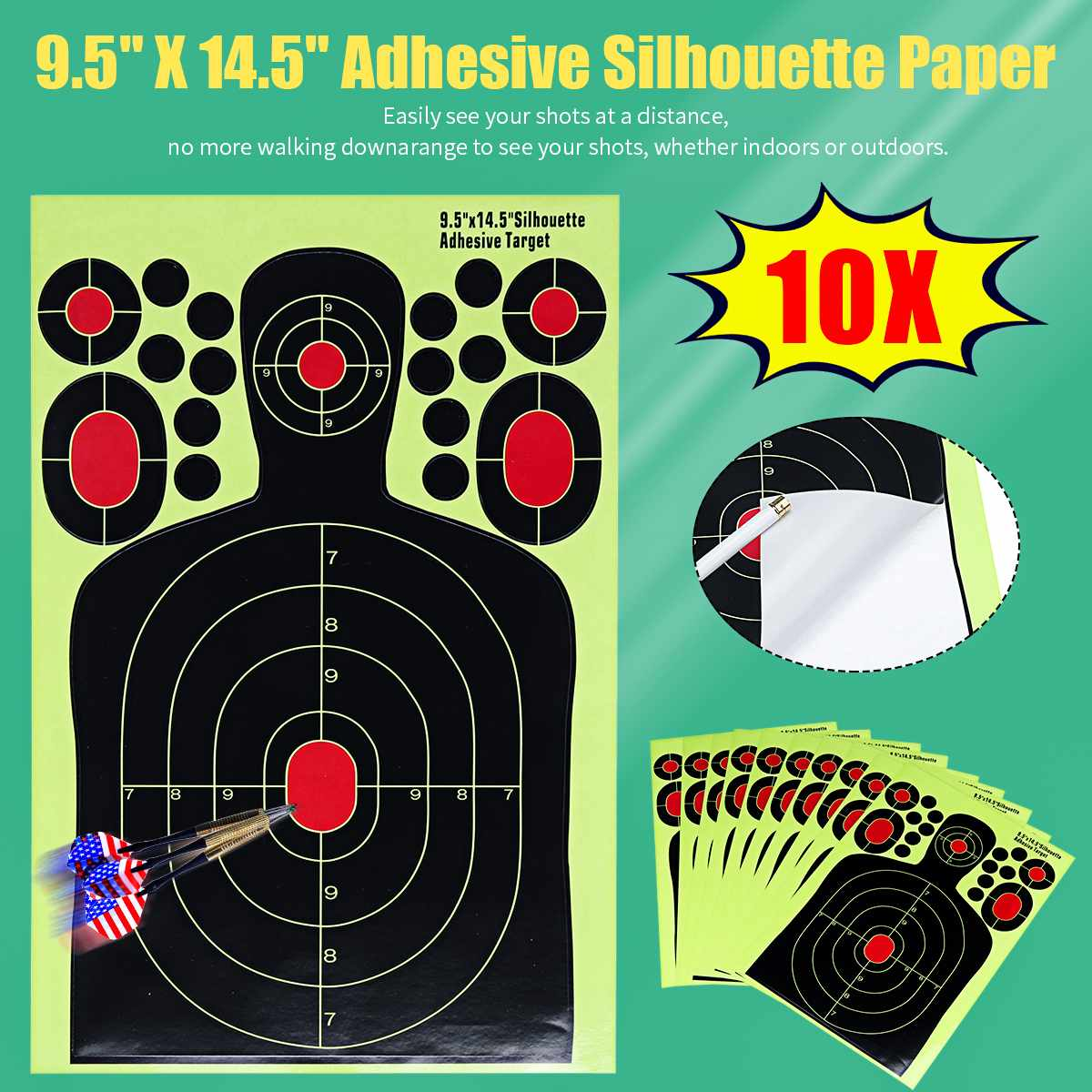 10Pcs Fluorescence-Sticker Target-Paper Human Nature Hunting Training Target Paster Shooting-Stickers Splash Effect Outdoor