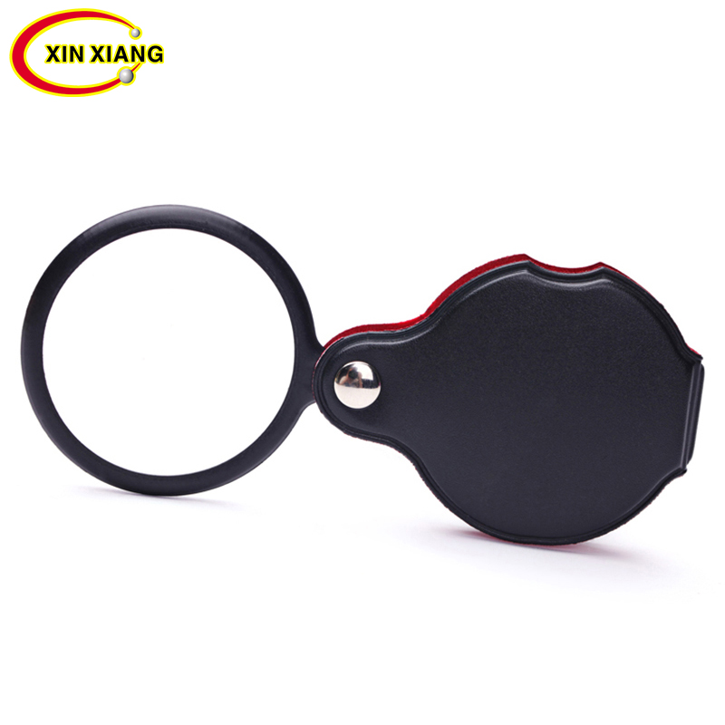 Mini Pocket Folding Magnifier 6X Magnifying Glasses Foldable Leather Loupe Magnifier Jewelry Loupe Monocle Magnifying Lens Lupe