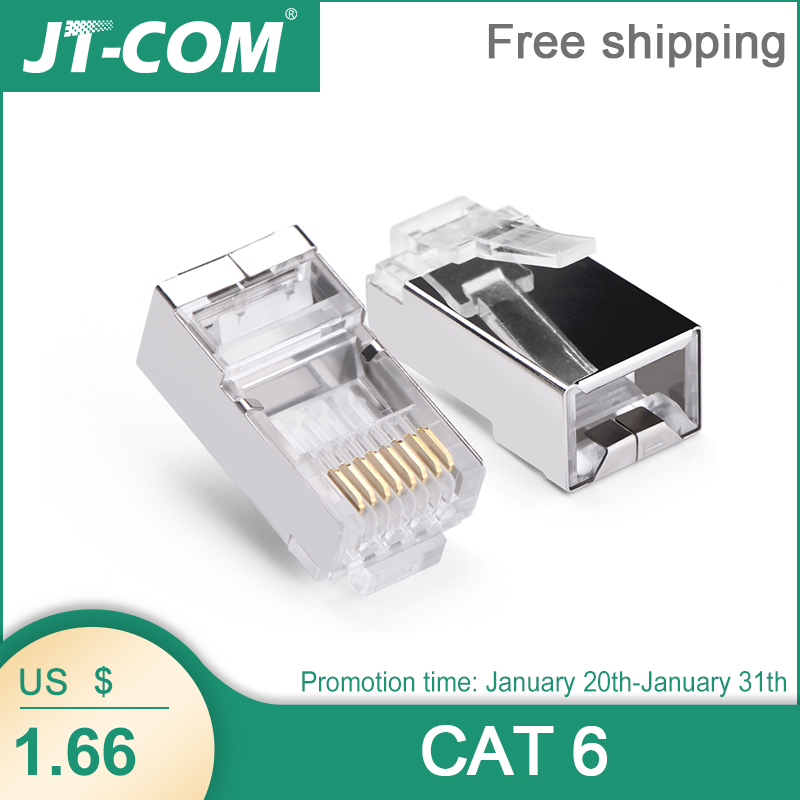 100PCS Cat6 RJ45 Connector 8P8C Modular Rj-45 Network Cable Connector Adapter For Cat5e Cat6 Rj 45 Ethernet Cable Plugs Heads