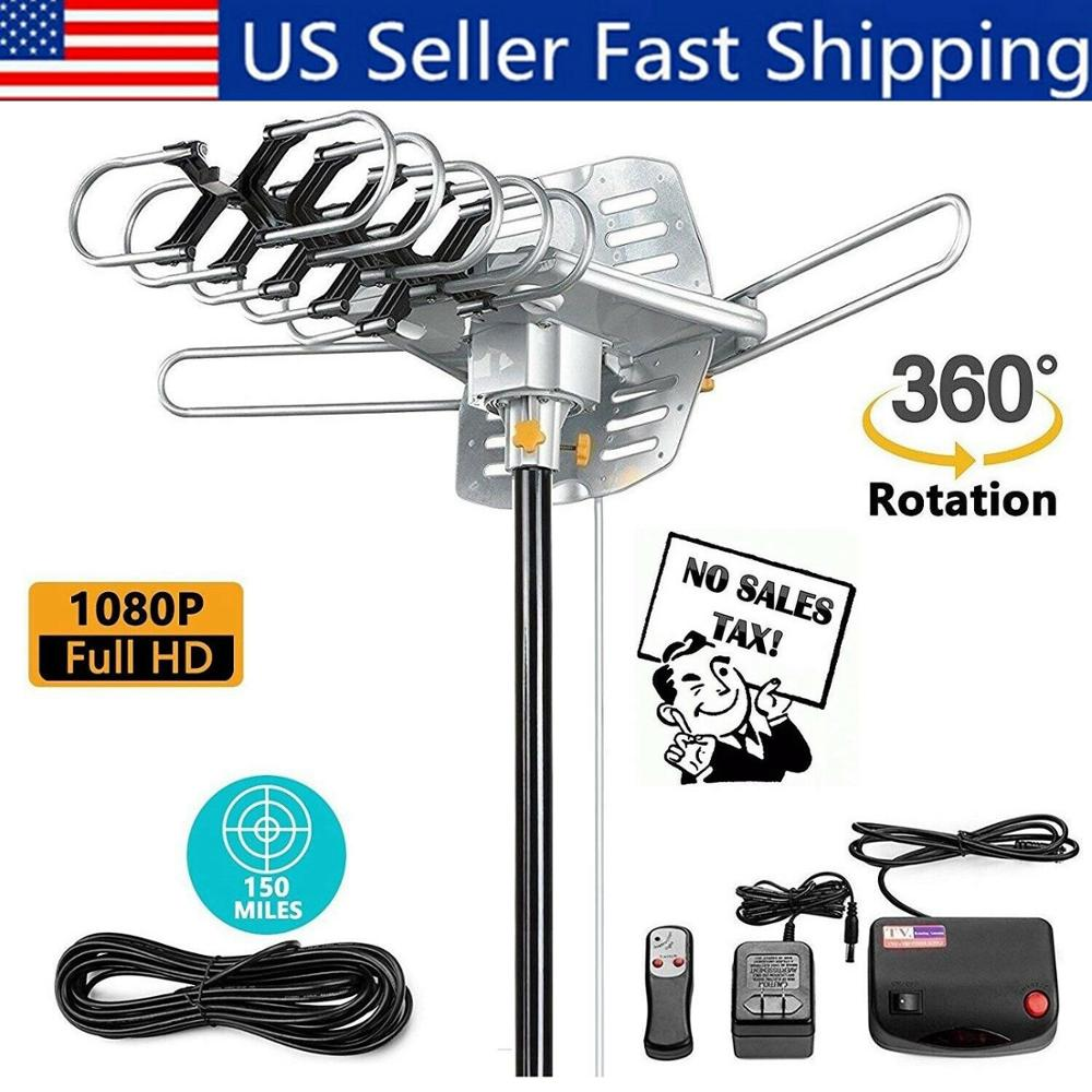 150 Miles Outdoor 360 Degree Rotating Amplified Motorized Antenna HD TV High Gain 36DB UHF VHF Infrared Remote Control Universal