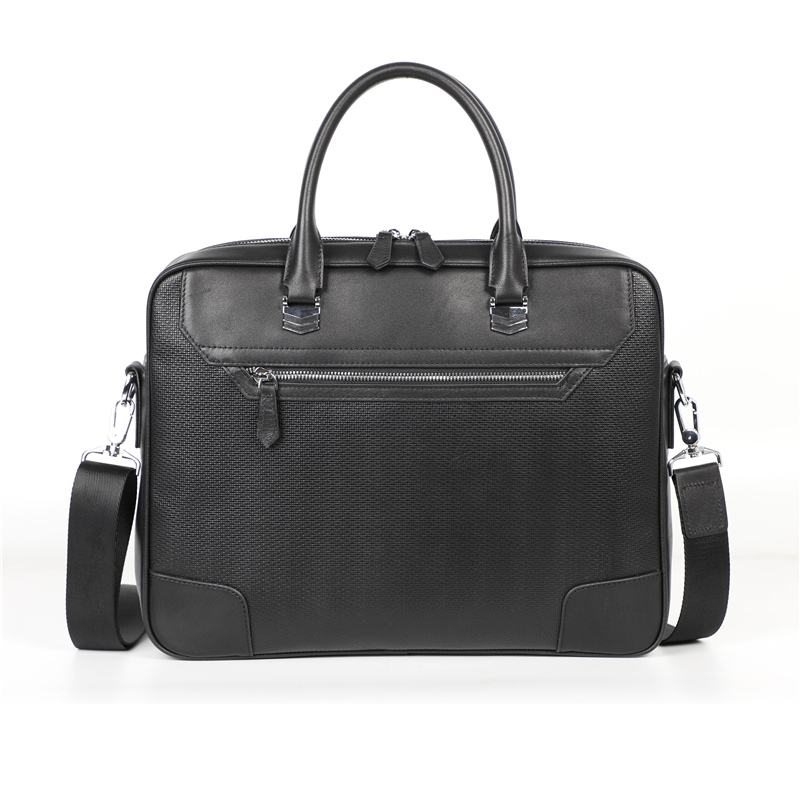 Nesitu High Quality New Black Genuine Leather  14'' Laptop Men Briefcase Messenger Bags Portfolio Business Office Bag M6009