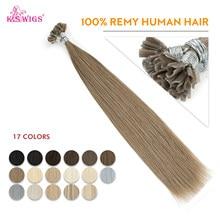 K.s peruca extensões de cabelo humano pré-adesivo, 16 '', 20'', 24 '', 28'' cápsulas de queratina para cabelos humanos