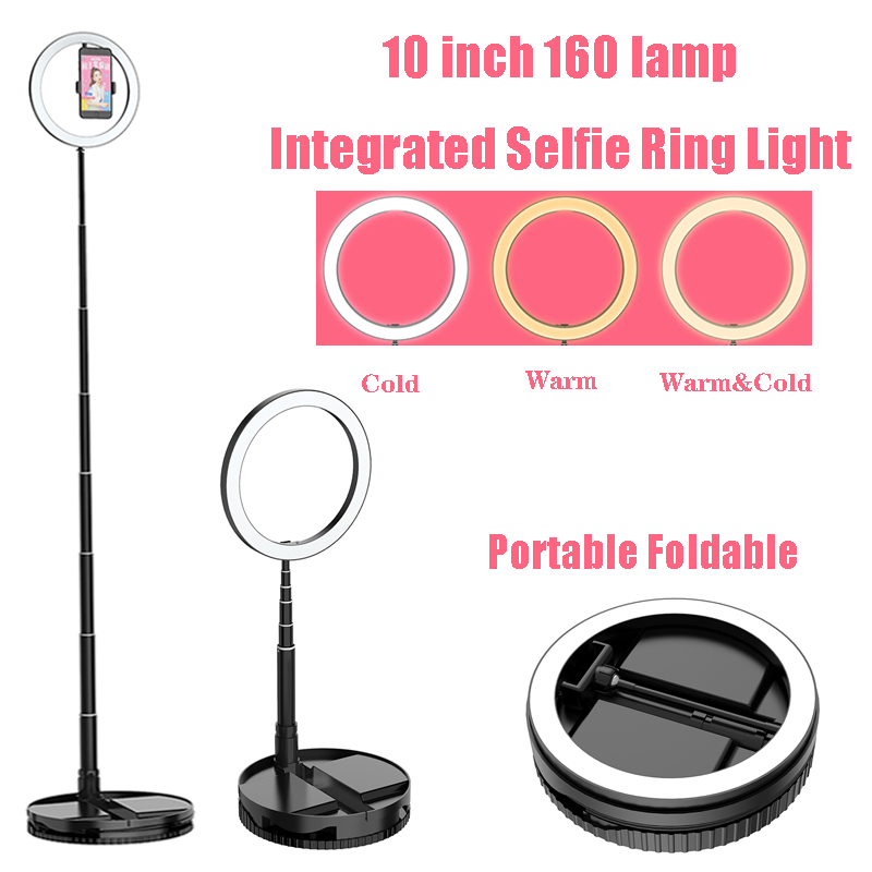 Video Light with Phone Holder Integrated Portable Fill Light LED Phone Selfie Ring Photography Light USB Lamp Makeup Youtube
