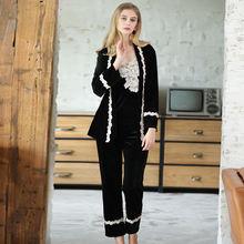 Пижамы для женщин одежда сна бархатные пижамы женский халат