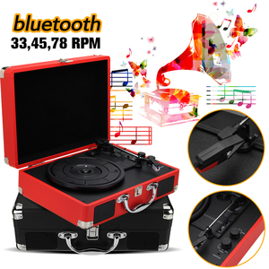 Plastic Wood Retro 33/45/78 RPM bluetooth PH/ INT/ BT 2.0 Suitcase Turntable Vinyl LP Record Phone Player 3-Speed 3.5mm AUX IN(China)