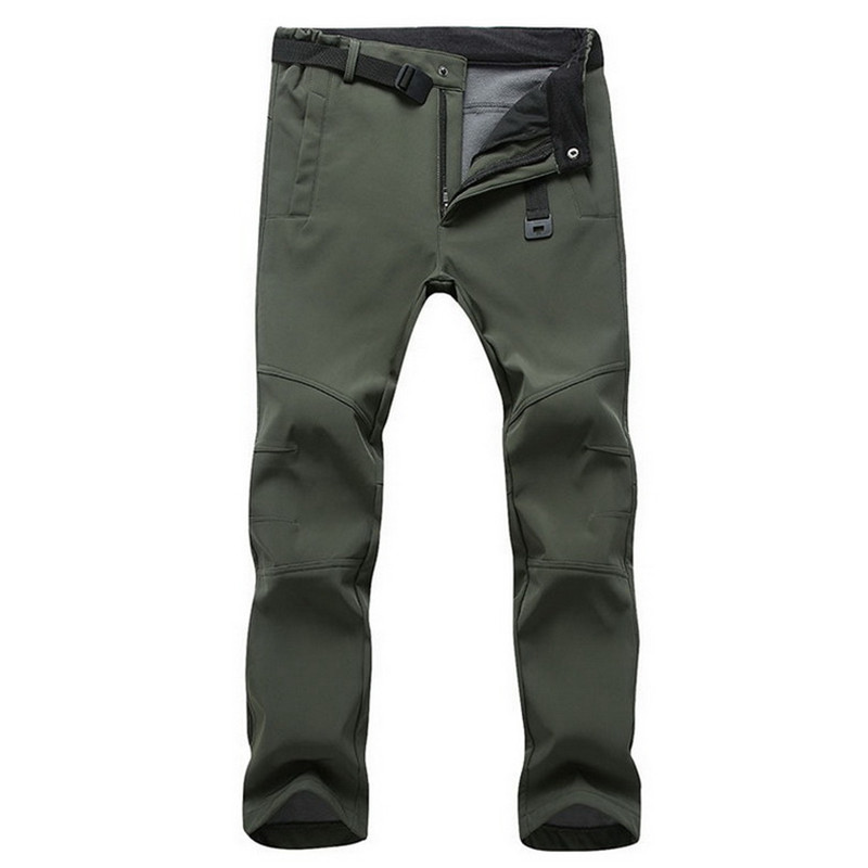 Casual Stretch Waterproof Pants Men Winter Snow Thick Warm Fleece Shark Skin Trousers Male Windbreaker Sweatpants Tactical Pants