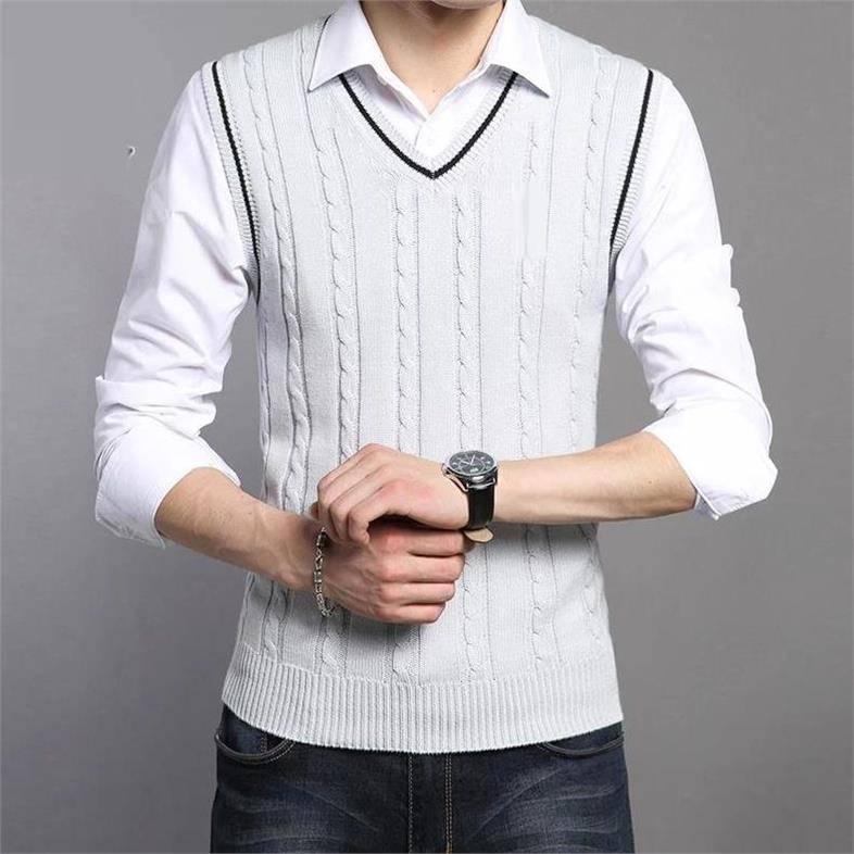 OLOEY Wool Vest Men 2018 Autumn Winter New Classic V-neck Sleeveless Sweater Men Cotton Knitwear Pull Men Brand Clothing