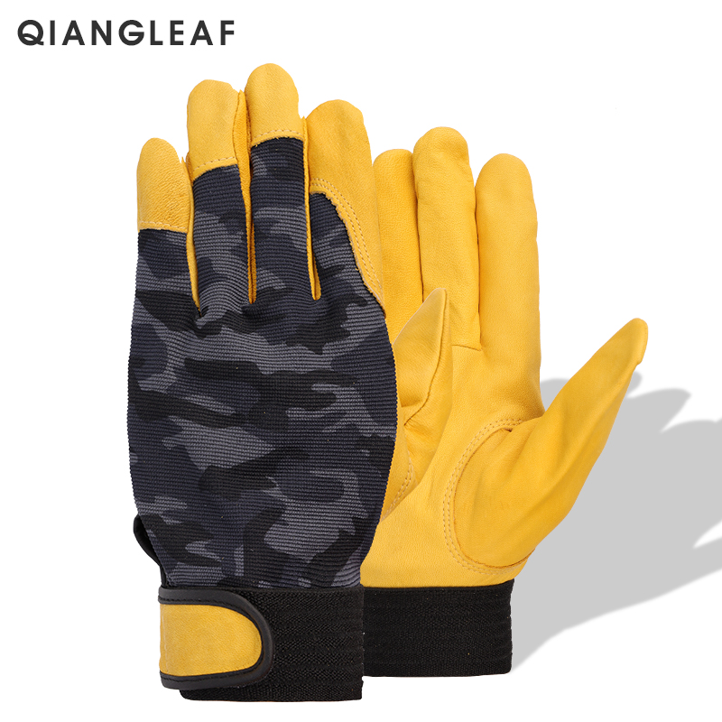 QIANGLEAF Brand Work Gloves Work Glove Protective Gloves Top Layer Cowhide Cloth Driver Protection Tactics Safety Mitten 508MC