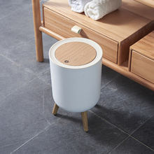 Household creative with lid press living room toilet bathroom kitchen Nordic style ins high-foot imitation wood grain trash can