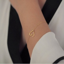 Fashion Heart Bracelet Bangle Delicate Simple Bracelets Bangles Silver Gold Women Gift For Her Jewelry