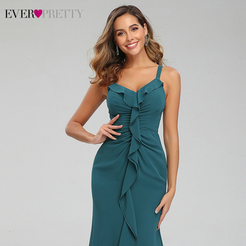 Sexy Teal Prom Dresses Ever Pretty Ruffles V-Neck Spaghetti Straps Ruched Simple Chiffon Mermaid Party Gowns Vestido Largo Gala 5