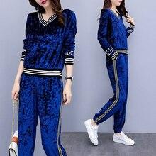 Velvet Suit Warm Tracksuits for Women 2 Piece Set Pant Top Velor Plus Size Outfit Sportsuit Co-ord 2019 Winter Clothing