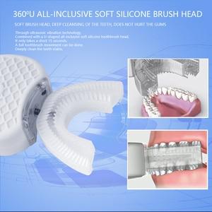 Image 4 - Умная автоматическая Зубная щетка 360 градусов, перезаряжаемая ультразвуковая зубная щетка U образной формы, синий холодный светильник