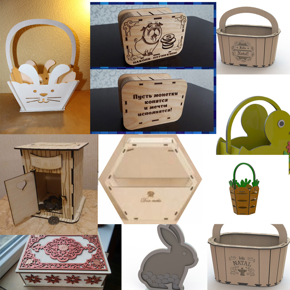 105 Pieces Of Boxes Piggy Banks Caskets 2d Vector Drawing Design Files For CNC Laser Cutting Files Collection