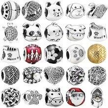 Logo Ball Majestic Schwan Meer Schildkröte Katze & Hund Schüssel Meow Bären Pfote Charme Fit Mode Armband 925 Sterling silber Perlen Schmuck
