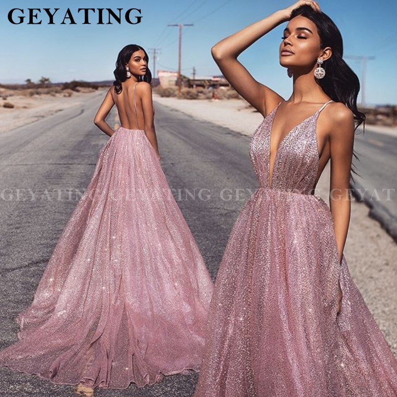 Sexy Spaghetti Straps V-Neck Backless Prom Dresses 2020 Glitter Rose Pink Sequin Long Evening Dress Gold  Formal Party Gowns