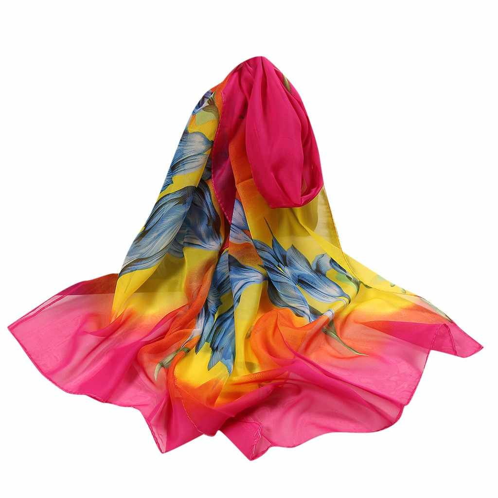 Lenço macio envoltório simulação xale seda cachecóis szaliki i chusty tinta pintura retro chinês 160*50cm feminino flor impressão longa