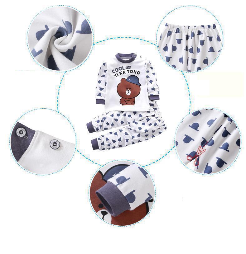 Children Pajamas Baby Clothing Set Kids Unicorn Cartoon Sleepwear Autumn Cotton Nightwear Boys Girls Animal Pyjamas Pijamas Set 5