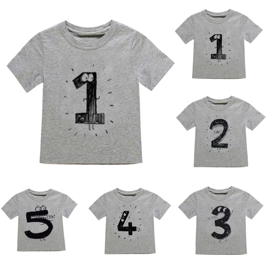 T-Shirt Tops Number Girl Kids Boy Short-Sleeve Baby Cartoon Gray -Bl2
