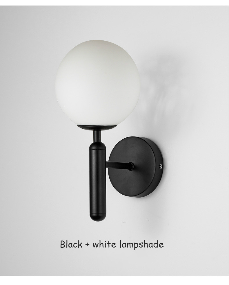 H27b795dd637c454e87f89a4fd068aa5am - Decorative Led Wall Lights Fixtures Nordic Glass Ball Wandlamp Up Down Bathroom Mirror light Gold Black Modern Round Wall Lamp