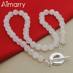 Aimarry 925 Sterling Silver Pearl TO Chain 8MM White Pink Necklace For Women Fashion Jewelry Party Engagement Wedding Gifts