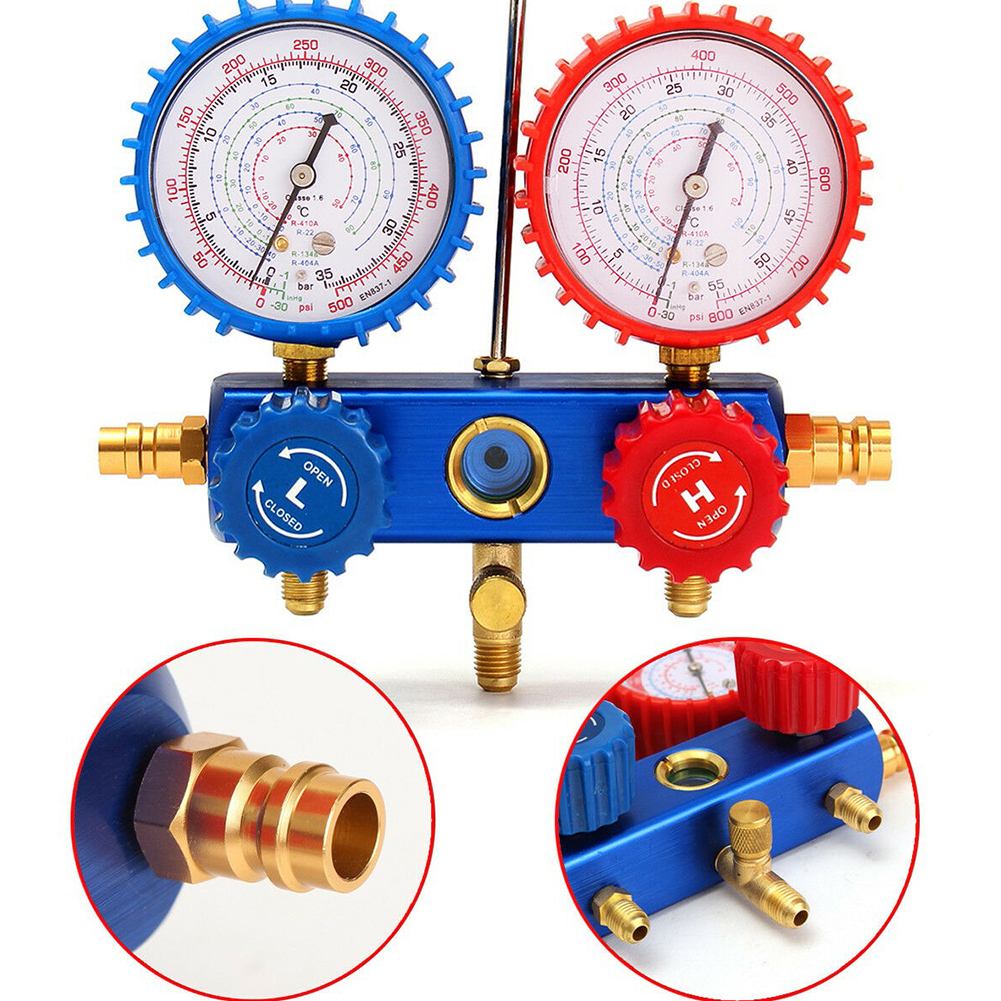 R134A Easy Apply Air Conditioning With Hook Portable Manifold Gauge Set Charging Hose Auto Car Refrigerant Tool Household Repair