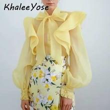 KHALEE YOSE Yellow Chiffon Blouse Shirt Autumn Lace Up Bow Sheer Ruffle Long Puff Sleeve Women Chic Streetwear Top