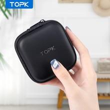 Topk Earphone Case Hard Headphone Bag Waterproof Cable Protector for Airpods Earpods