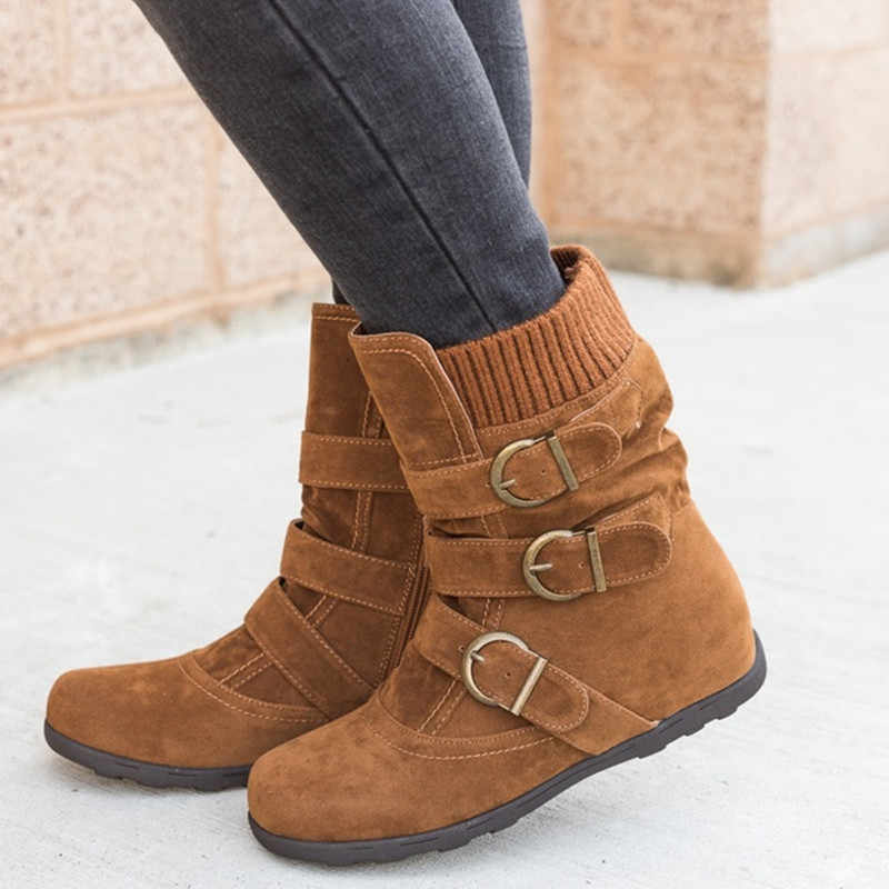 Ankle boots for women Warm Fashion Winter boots woman 2019 Plus Size 43 Comfortable Snow Boots Women Belt buckle Boot Female