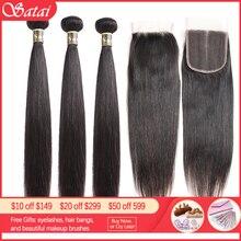 Satai proste włosy 3 wiązki z zamknięciem 100% wiązki ludzkich włosów z zamknięciem brazylijskie pasemka włosów z zamknięcie koronki NonRemy