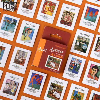 46 pcs Meet Matisse Diary Handmade Adhesive Paper Flake Oil Painting Decoration Sticker Scrapbooking  Stationery - discount item  18% OFF Stationery Sticker