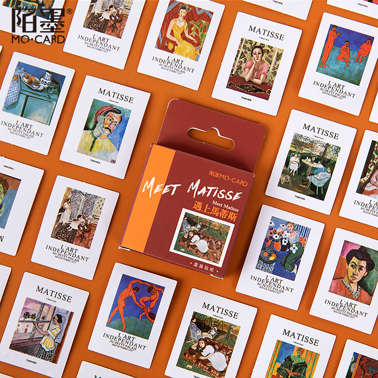 46 Pcs Meet Matisse Diary Handmade Adhesive Paper Flake Oil Painting Decoration Sticker Scrapbooking Bullet Journal Stationery