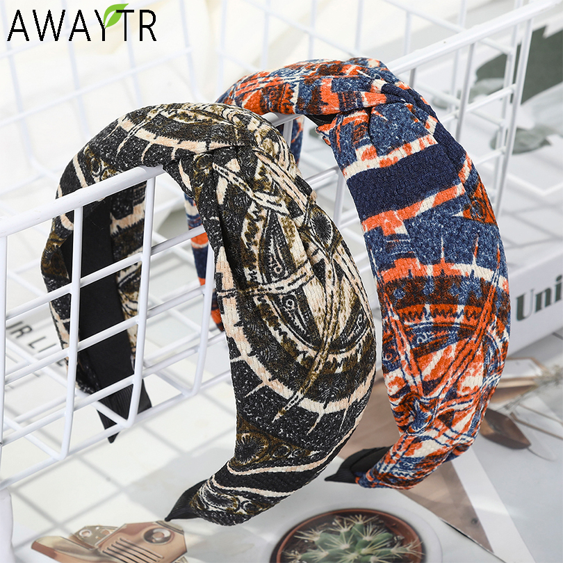 AWAYTR Retro Knotted Cross Hair Band Printing Headband Fashion Bezel Hair Accessories For Women Hairband Hair Hoop Headdress