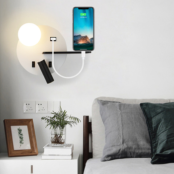 Indoor Led wall lamps with switch USB 5V  reading wall lamp bedroom living room Nordic modern wall light aisle wall sconces
