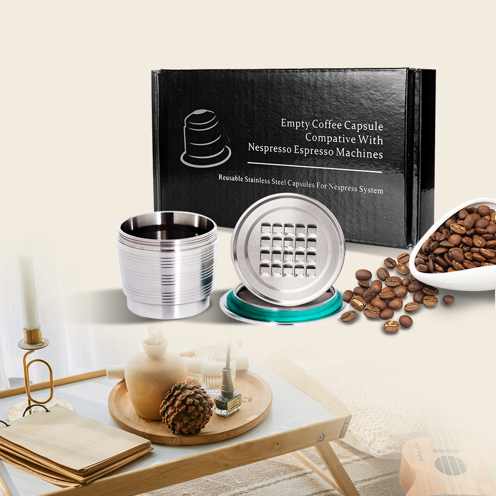 2020 New Version Stainless Steel Refillable Coffee Capsules Reusable Coffee Filters Pods For Nespresso Machines Coffeeware Gifts