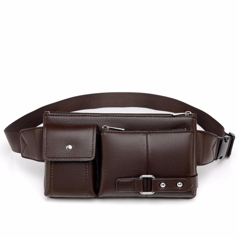 Leather Waist Packs Fanny Pack Belt Bag Women Men Phone Chest Bags Travel Waist Pack Female Mini Small Waist Bag Pouch Organizer