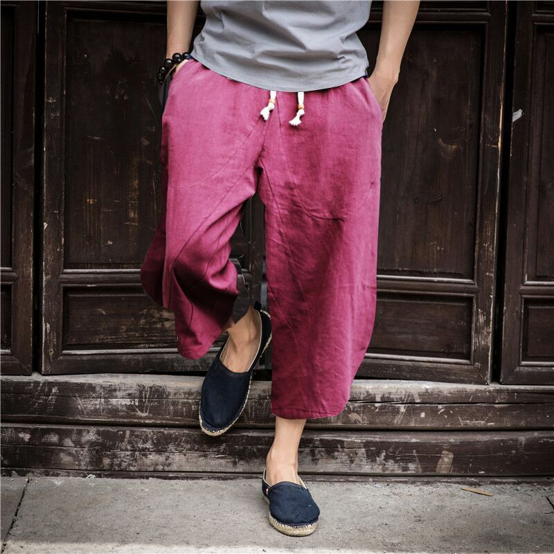 Summer New Style Men Retro Chinese-style Drawstring Cotton Linen Capri Pants Harem Pants Flax Casual Pants Large Size Men'S Wear