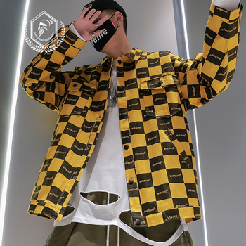 Men Fashion Loose Plaid Print Jacket Casual Hip Hop Coat