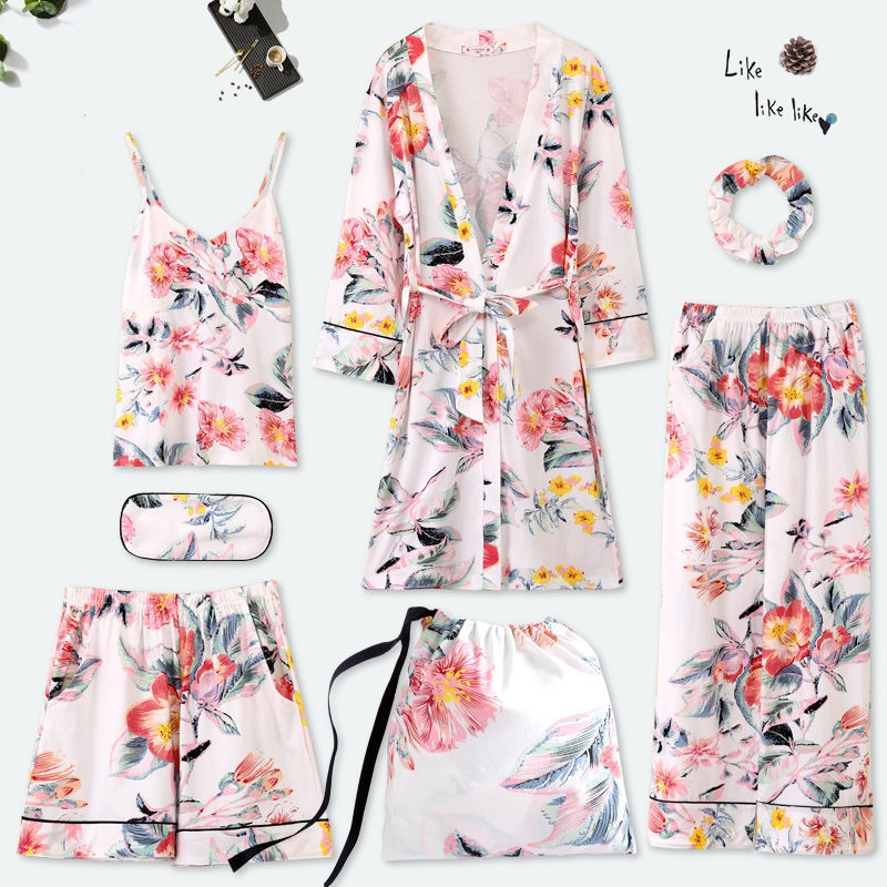 JULY'S SONG New Woman 7 Pieces Cotton Pajamas Set Printed Colorful Leisure Sleepwear Spring Autumn Shorts Woman Female Home Wear