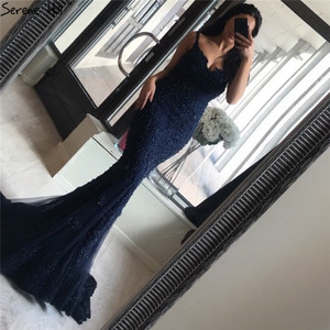 Image 5 - Serene Hill Pink Sexy Elegant Evening Dress 2020 Lace Pearls Diamond Mermaid Formal Party Gown Real Photo CLA6355