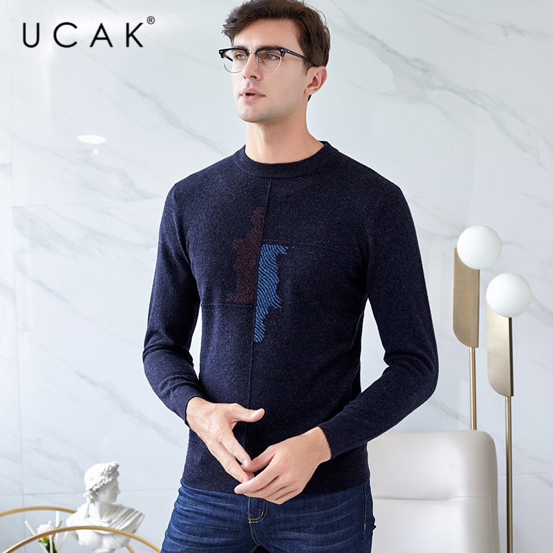 UCAK Brand Pure Merino Wool Sweater Men Streetwear Fashion O-Neck Pull Homme Autumn Winter Soft Warm Cashmere Pullover Men U3038