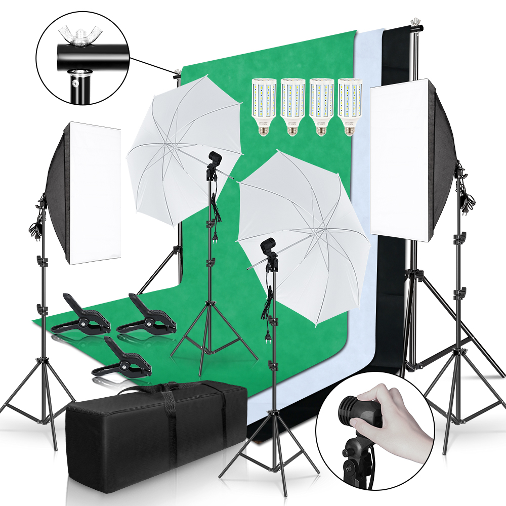 Photo Studio Lighting Kit 2x3M Background Frame With 3Pcs Backdrop Photography Light Softbox Reflect Umbrella Tripod Stand(China)
