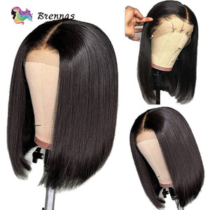 Image 3 - Straight Short Bob part lace Wig natural color 13x1 wig Brazilian Remy human hair wigs glueless wigs with Baby Hair For Women