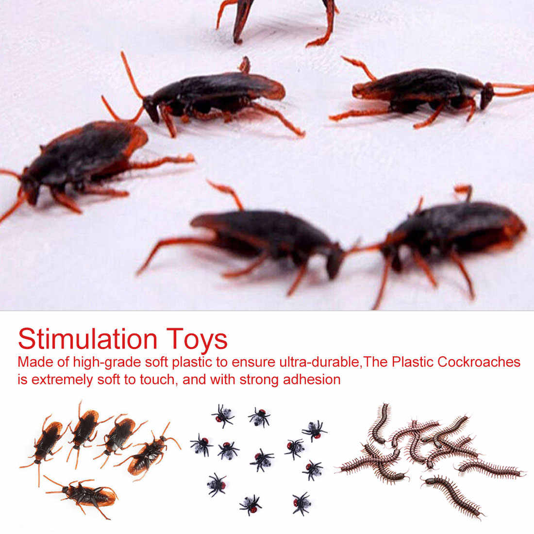 10Pcs Funny Fake Cockroach/Fly/Centipede Halloween Decoration Jokes Pranks Maker Fun Novelty Tricks Simulation False Toys