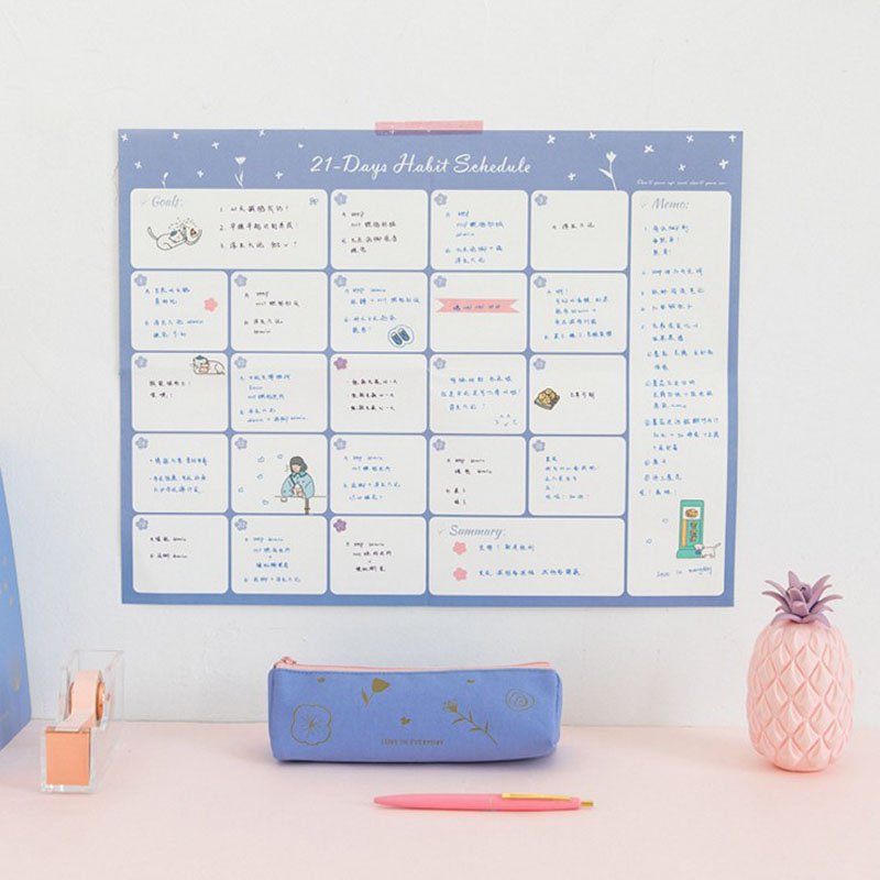 1 Pcs Hot Sale 100 Day Countdown Calendar Pink Blue Learning Schedule Planner Table Gift For Kids Study Planning Supplies